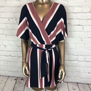 Express Romper Striped Shorts Size Large NWT